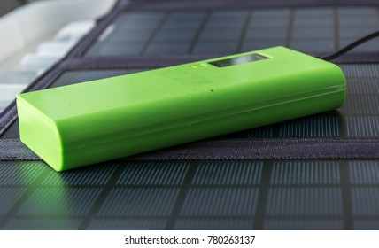 Abstract Close-up Solar Panel Home Usage Photovoltaic Eco-Friendly Green Energy Powerbank Background