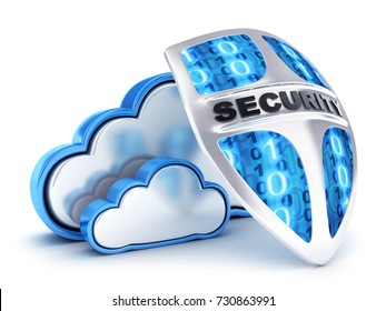 Abstract cloud security and shield. 3d illustration
