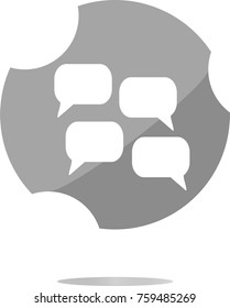 abstract cloud set icon. speech bubbles, symbol. Round button