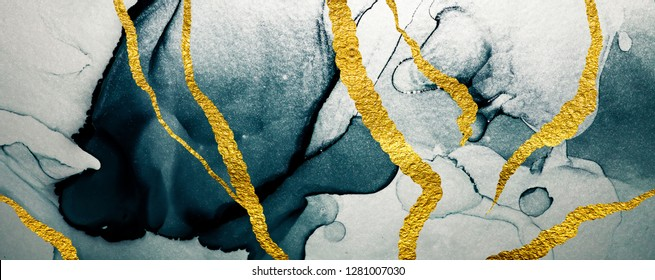 Abstract clouds -ART. Luxurious beauty.  Inspired by the sky, as well as steam and smoke. Transparent creativity. Ink colors are amazingly bright, luminous, translucent, free-flowing. Art&Gold.
