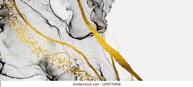 Abstract clouds -ART. Transparent creativity. Inspired by the sky, as well as steam and smoke.  Ink colors are amazingly bright, luminous, translucent, free-flowing. Art&Gold.