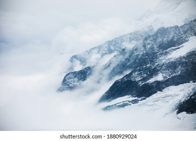 Abstract cloudy mountain side in the Swiss alps at the Aletsch glacier