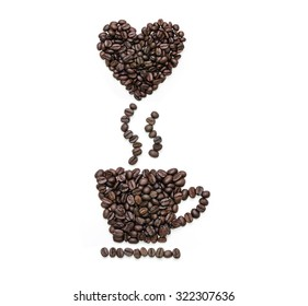 Abstract coffee beans, Cup shape of roasted coffee beans with float heart shape coffee beans on white background.