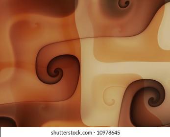 Abstract coffee chocolate caramel swirls