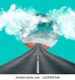 Abstract collage art. Blue sea, road, clouds. - Shutterstock ID 1629409168