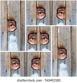 abstract collage of the human eye, voyeur spying through a hole in the old wooden fence.