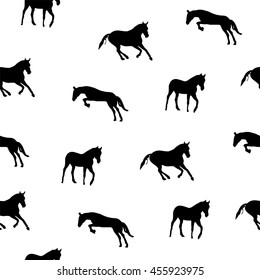 Abstract collection of black silhouette of horses. Horse running. Seamless texture with animals on the white background. Horseback riding. Outline style