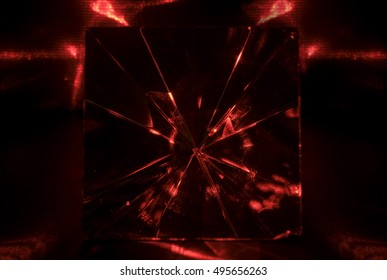 Abstract color background of pyramid glass on dark background. Red tone.