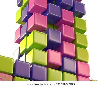 abstract color cubes block array 3d illustration