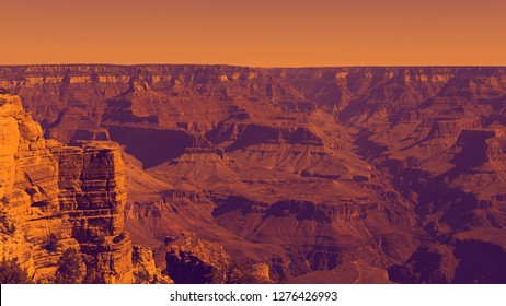 Abstract color filter in purple and orange, concept of alien landscape of Grand Canyon, American national monument and park, view from the South Rim, Grand Canyon National Park, Arizona, USA