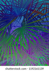 Abstract color gradient background texture of tropical 90s/80s style palm leaves.