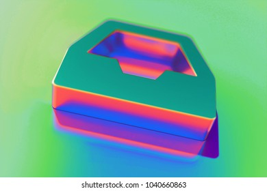 Abstract Color Inbox Icon With Colorful Reflections on the Green Background With Smooth Focus. 3D Illustration of Email, Envelope, Inbox, Letter, Message Icon Set for Presentation.