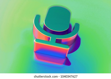 Abstract Color Microphone Icon With Colorful Reflections on the Green Background With Smooth Focus. 3D Illustration of Mic, Microphone, Old Microphone, Radio Mic Icon Set for Presentation.