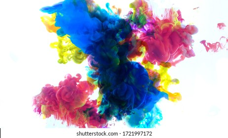 Abstract color mix , color drops in water , drop of Ink color mix paint falling on water Colorful ink in water,