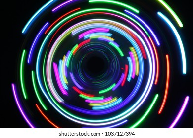 Abstract color neon light on long exposure shot.