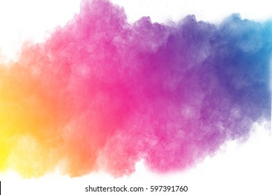 abstract color powder splatted on white background,Freeze motion of color powder exploding or throwing color powder, multicolor glitter texture on white background.
