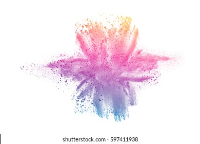 abstract color powder splatted on white background,Freeze motion of color powder exploding or throwing color powder, multicolored glitter texture on white background.Shape like flower concept.