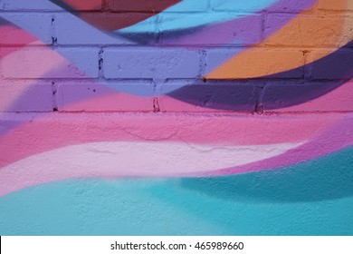 Abstract color shapes from a street art mural