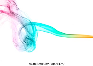 abstract color smoke flow on white background