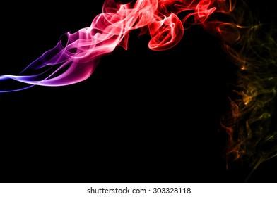 Abstract color smoke on black background, smoke background,colorful ink background,blue,red,yellow, beautiful smoke