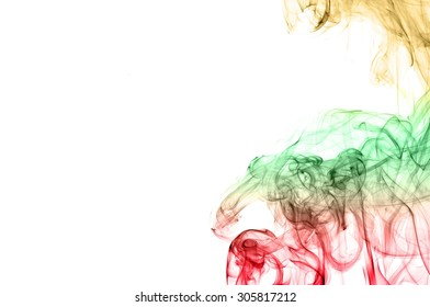 Abstract color smoke on white background, smoke background,red and green and brown ink background, red ,green, brown