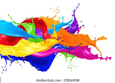 abstract color splash isolated on white background - Shutterstock ID 378569038