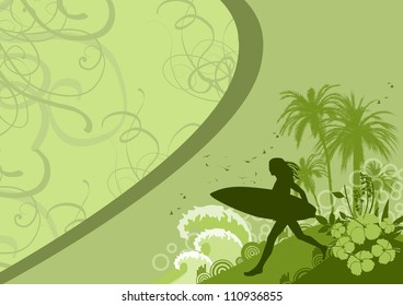 Abstract color woman surf background with space