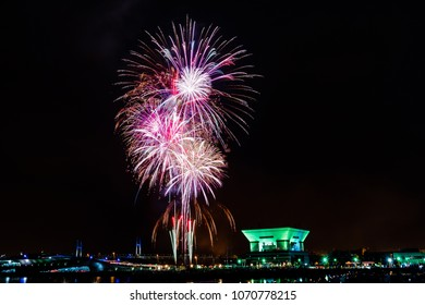 Abstract colored firework holiday celebrate at Yokohama harbor in summer