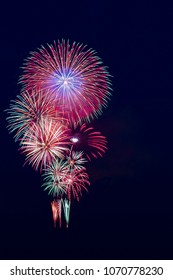 Abstract colored firework holiday celebrate background with free space
