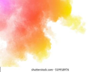 Abstract colored powder on white background. Frozen abstract movement of dust explosion multiple colors on white background. Stop the movement of multicolored powder on white background.