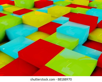 Abstract colorful background of 3d blocks