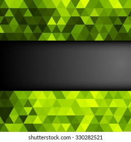 Abstract colorful background with green shiny triangles