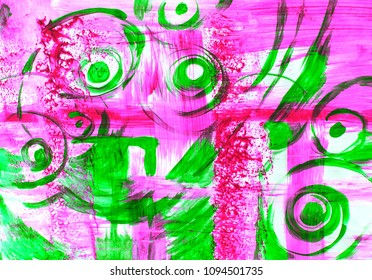Abstract colorful background. Purple and green abstract art. Art therapy. Art school. Pink, green, curls, waves, abstraction, abstract drawing, cover, beautiful background, art, illustration, drawing.