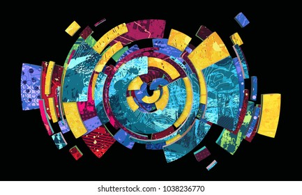Abstract colorful composition with circular shapes covered with creative textures, high resolution 3D render