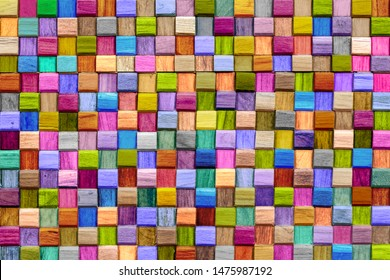Abstract colorful of  cube wooden texture background.