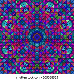 Abstract Colorful Digital Decorative Flower. Geometric Contrast Line Star and Blue Pink Green Color Artistic Backdrop