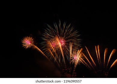 Abstract colorful fireworks celebration and anniversary festival and the night sky background.