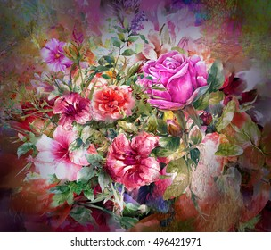 Abstract colorful flowers watercolor painting. Spring multicolored flowers