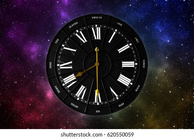 abstract colorful galaxy view with vintage black clock in the middle. 3D illustration/ 3D rendering