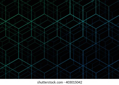 Abstract colorful gradient hexagonal grid
