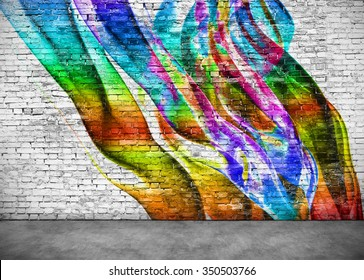 abstract colorful graffiti on white brick wall