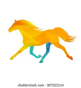 Abstract colorful horse on white background