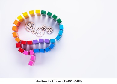 Abstract colorful human brain, concentration of thoughts, Rational thinking, information processing, creative concept. Top view, flat lay.