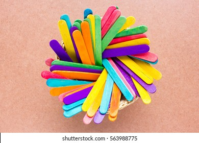 Abstract of colorful ice cream sticks