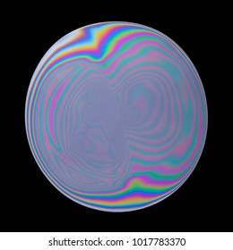 Abstract colorful iridescent oil circle isolated on black