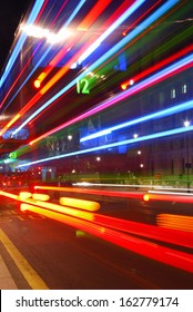 Abstract colorful light trails from traffic in the city center