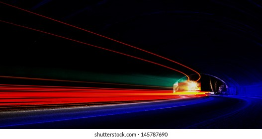Abstract colorful lights in car tunnel especially made for banner