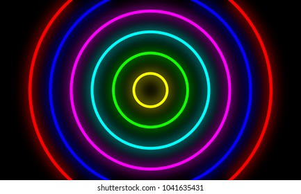 Abstract colorful neon light circles background.