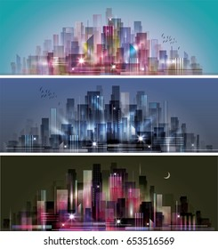 Abstract colorful night city background header set