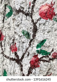 Abstract colorful oil painting on bark tree background.